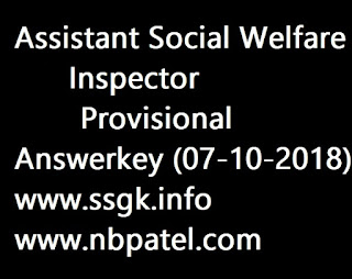 Assistant Social Welfare Inspector Provisional Answerkey (07-10-2018)