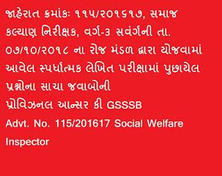 Social Welfare Inspector 115/2016-17 Provisional Answer Key