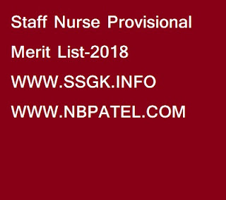 Staff Nurse Provisional Merit List-2018