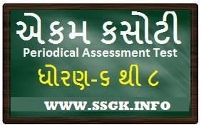STD 6 TO 8 ENGLISH PERIODICAL ASSESSMENT TEST-EKAM KASOTI