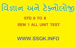 STD 6 TO 8 SCIENCE SEM 1 ALL UNIT TEST 2019